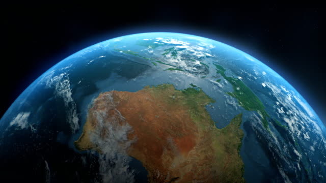 Cinematic Realistic Rotating Earth in Space