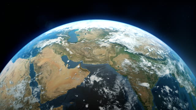電影中逼真的地球在太空中旋轉 - 亞洲中部 個影片檔及 b 捲影像