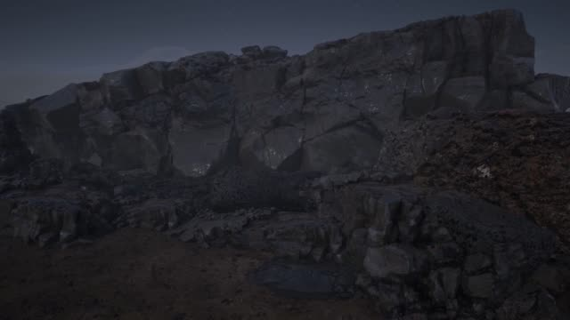 Cinematic Rock Formation At Starry Night 4k