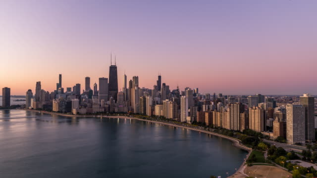 cinematic shot of chicago skyline - lakeshore stock videos & royalty-free footage