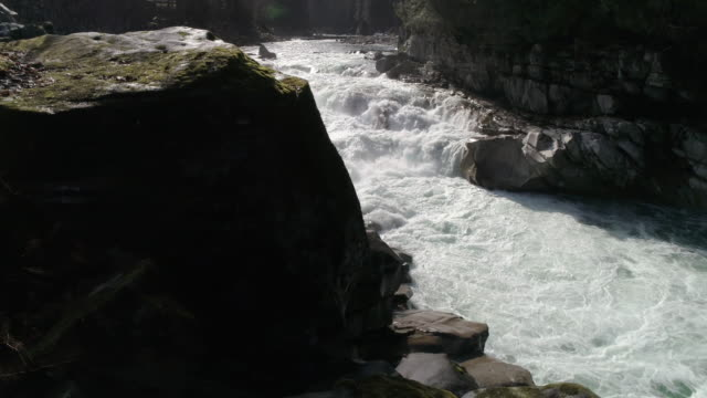 Cinematic Slow Motion Aerial Dolly of Raging Canyon River with Misty White Water Rapids video