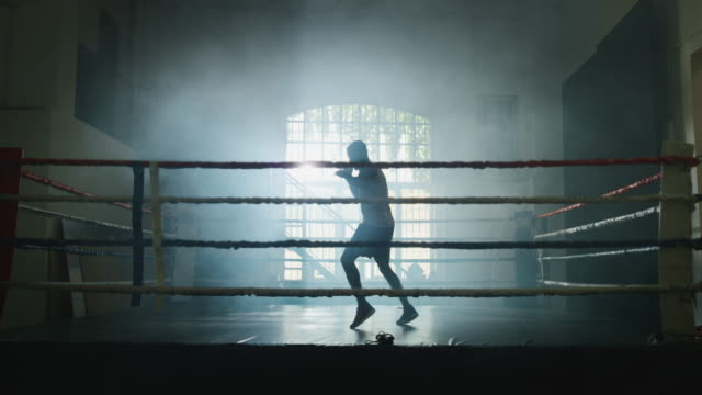 Cinematic slow motion shot of a professional young muscular african man is practicing shadow boxing work out in a ring Cinematic slow motion shot of a professional young muscular african man is practicing shadow boxing work out in a ring. action movie stock videos & royalty-free footage