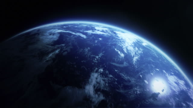 Cinematic sunrise in city - move to full earth Cinematic city shot - with camera moving out to space.  space exploration stock videos & royalty-free footage