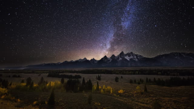 Cinematic Time-lapse of Milky Way Passing Over Grand Tetons