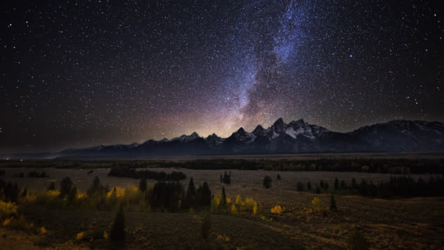 Cinematic Time-lapse of Starry Sky Rotating Above Grand Teton Range video