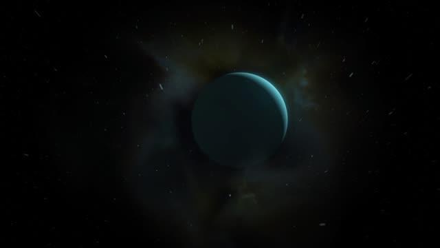 Cinematic Uranus camera pan In space - vídeo