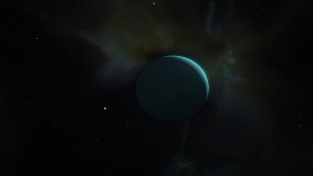 cinematic uranus camera pan in space - asta oggetto creato dall'uomo video stock e b–roll