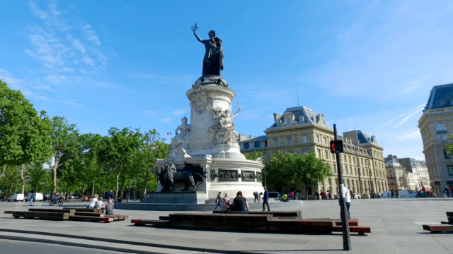 Cinematic view of statue at Republique square in Paris, a famous place for people recreation