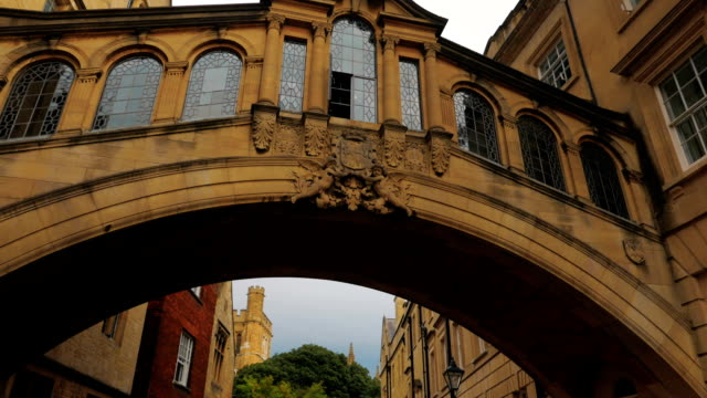 Cinematic POV view of the famous Bridge of Sighs in Oxford, UK video