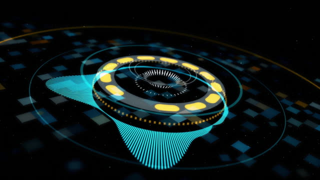 Circle audio equalizer background. Animation. Abstract circular spinning music equalizer, simulation for music, futuristic background, seamless loop
