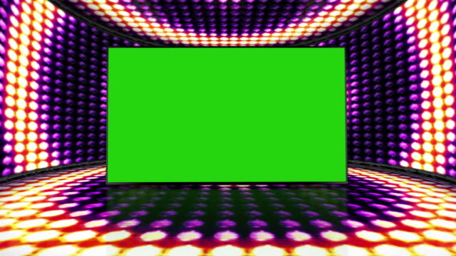 Circle Bulb Lights Room Background with Green Screen, Loop, 4k video