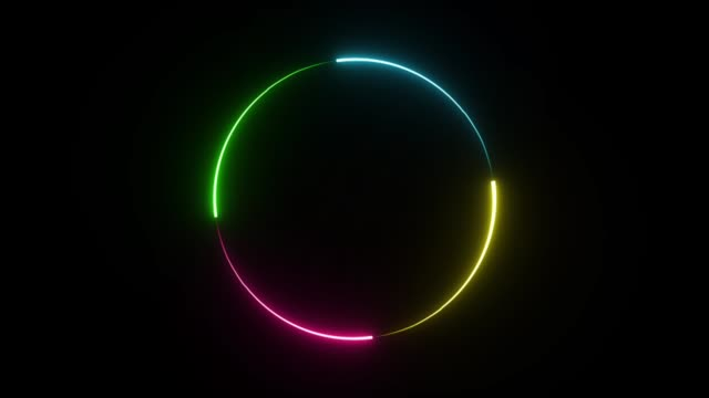 Circle frame neon light glowing colorful on black background.