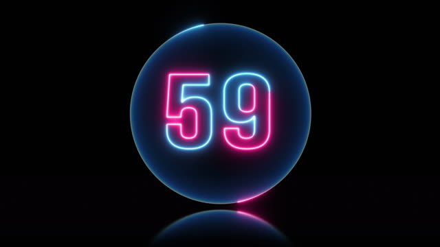 Circle neon light 60 seconds countdown on black background. Circle neon light 60 seconds countdown on black background. instrument of time stock videos & royalty-free footage