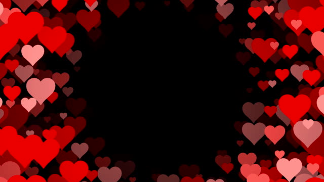Circle of Hearts over Black Background (Loopable) video