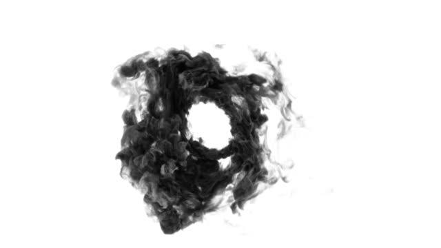 vídeos de stock e filmes b-roll de circle of smoke. - exhaust white background