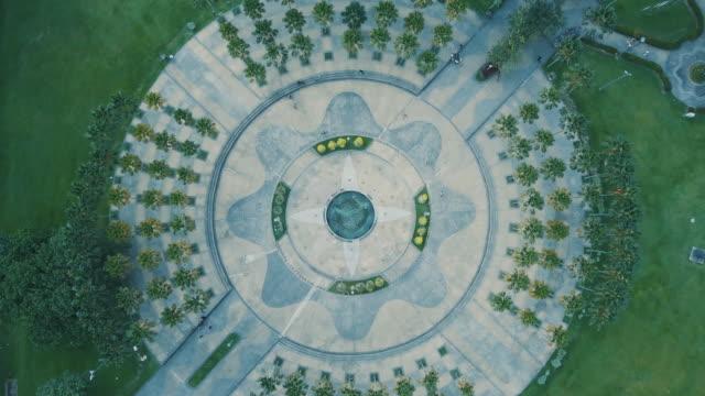 circle park aerial footage - kuala lumpur video stock e b–roll