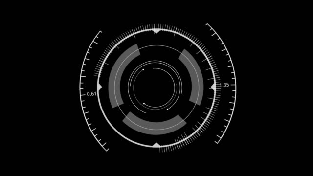 HUD Circle User interface on isolated black background. Target searching scope and scanning element theme. Digital UI and Sci-fi circular. 3D illustration rendering