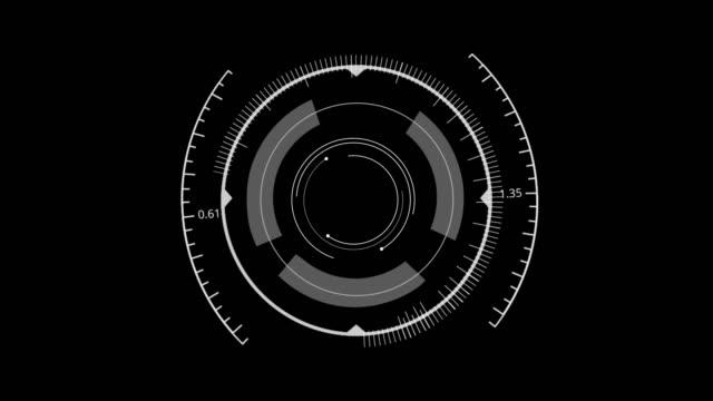 i̇zole edilmiş siyah arka plan üzerinde hud circle kullanıcı arabirimi. hedef arama kapsamı ve tarama öğesi teması. dijital ui ve bilimkurgu genelgesi. 3b illüstrasyon oluşturma - biyomedikal animasyonu stok videoları ve detay görüntü çekimi