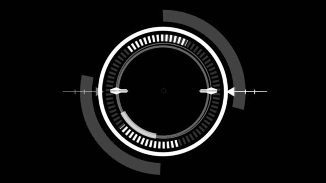 interfaccia utente hud circle su sfondo nero isolato. tema dell'ambito di ricerca e dell'elemento di scansione di destinazione. interfaccia utente digitale e circolare fantascientifica. rendering illustrazione 3d - elemento del design video stock e b–roll