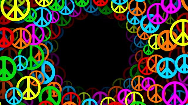 cerchi di pace multicolore simboli (ad anello - hippy video stock e b–roll