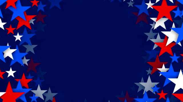 サークルの赤、白、ブルーの星スピニング(ループ - 民主主義点の映像素材/bロール