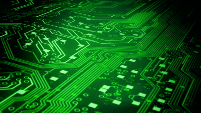 Circuit Board Background 3 (green) - Loop video