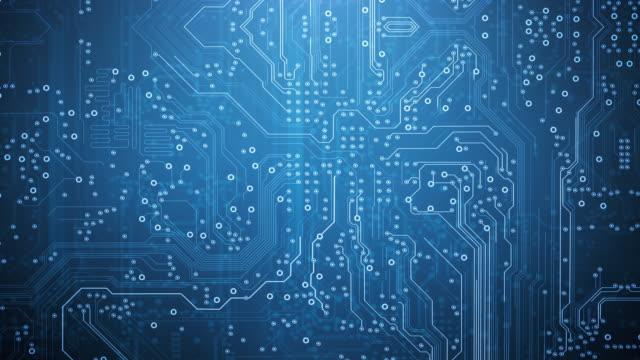 circuit board background - blu - animazione loopable - computer, dati, tecnologia, intelligenza artificiale - scheda a circuito video stock e b–roll