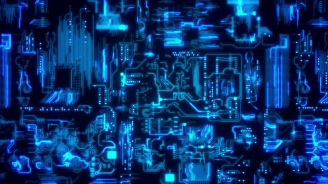 sfondo blu circuito a bordo - scheda a circuito video stock e b–roll