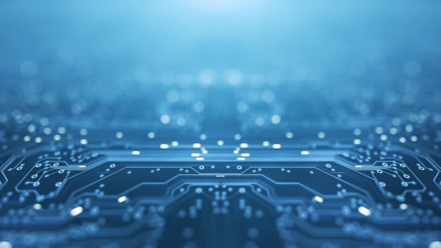 Circuit Board Background - Copy Space, Blue - Loopable Animation - Computer, Data, Technology, Artificial Intelligence