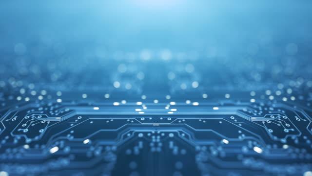 vídeos de stock, filmes e b-roll de fundo da placa de circuito - copy space, blue - loopable animation - computador, dados, tecnologia, inteligência artificial - criação digital
