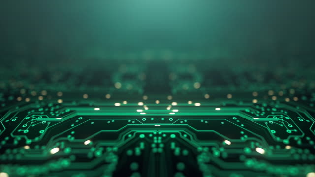 Circuit Board Background - Copy Space, Green - Loopable Animation - Computer, Data, Technology, Artificial Intelligence