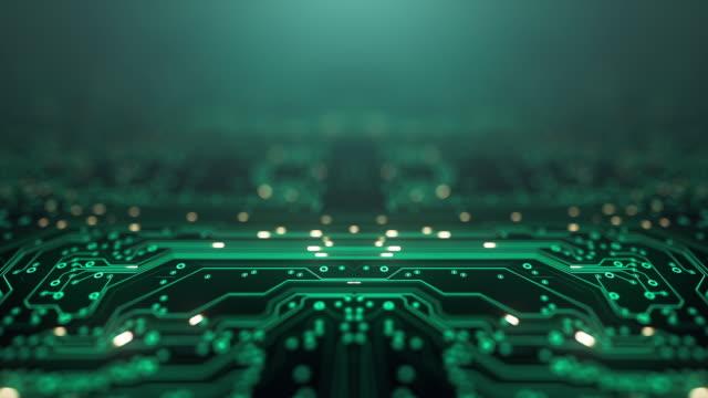 sfondo scheda di circuito - spazio di copia, verde - animazione loopable - computer, dati, tecnologia, intelligenza artificiale - scheda a circuito video stock e b–roll