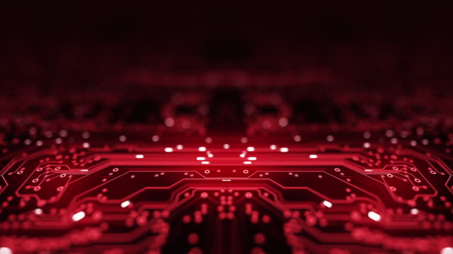Circuit Board Background - Copy Space, Red - Loopable Animation - Computer, Data, Technology, Artificial Intelligence