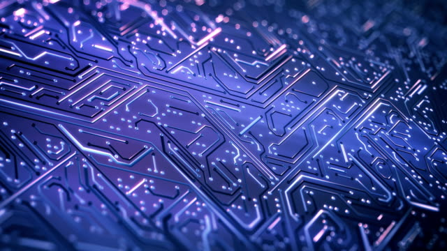 circuit board background (purple) - loop - processore video stock e b–roll