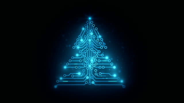 circuit board christmas tree - snowflake background stock videos & royalty-free footage