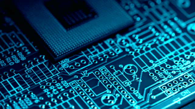 circuit board electronics industry - chip del computer video stock e b–roll
