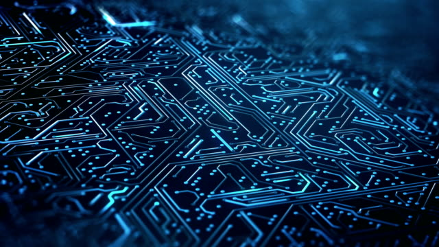 circuit board pattern close up (blue) - loop - abstract art stock videos & royalty-free footage