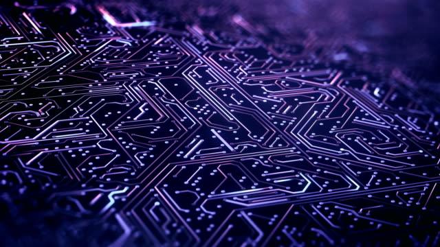 circuit board pattern close up (purple) - loop - apprendimento automatico video stock e b–roll
