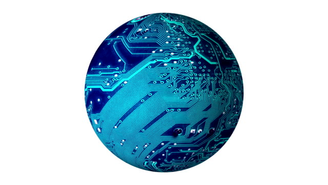 circuit board sphere rotation isolated on white background, concept of the electronic future of the earth planet