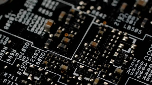 Circuit board, technology background rotates video