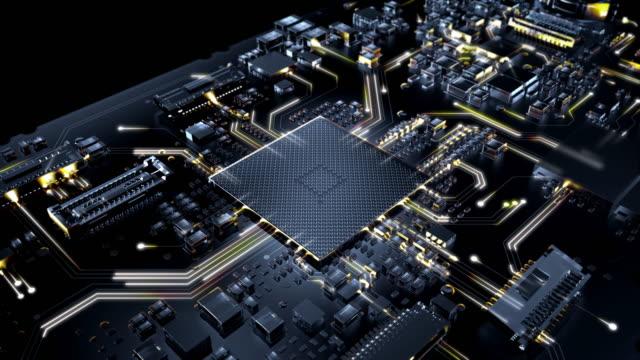 effetti visivi della scheda di circuito a - industria elettronica video stock e b–roll