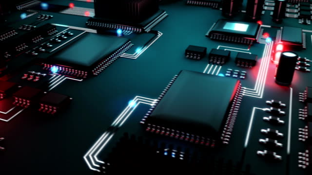 Circuit Board with moving electrons circuit board with animated information flow. This video is loopable. electrical equipment stock videos & royalty-free footage