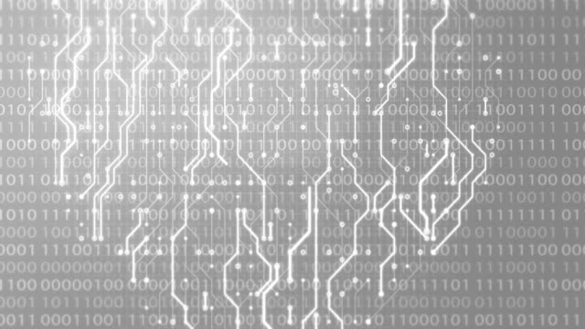 circuito stampato con ciclo di sfondo dell'animazione della rete neurale - scheda a circuito video stock e b–roll