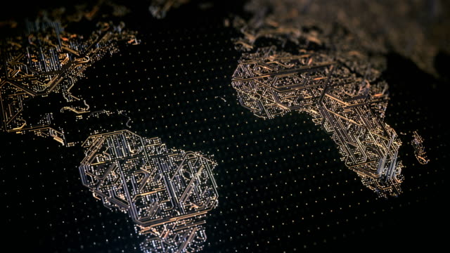 circuit board world map (gold) - loop - scheda a circuito video stock e b–roll