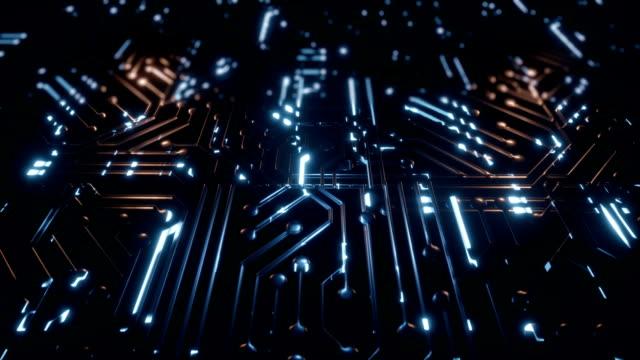 circuite background dolly camera - scheda a circuito video stock e b–roll