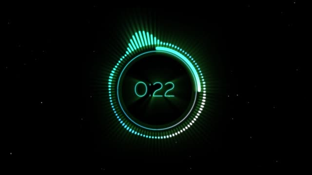 Circular Audio Spectrum Count down with Particles on Black Background Circular Audio Spectrum Count down with Particles on Black Background instrument of time stock videos & royalty-free footage