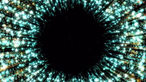 vídeos y material grabado en eventos de stock de patrón de movimiento centrado circular. fondo geométrico abstracto de neón. - corte transversal