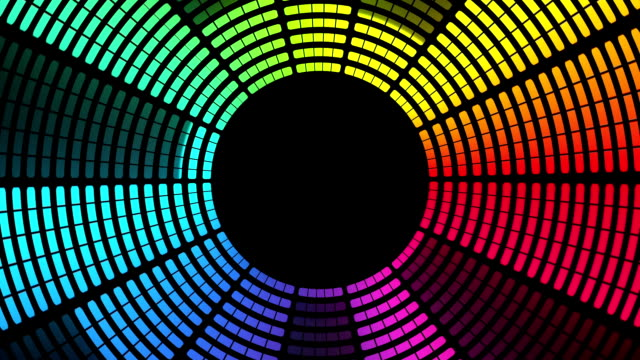 vídeos de stock e filmes b-roll de circular graphic equalizer: multi-coloured, loopable background - instrumental
