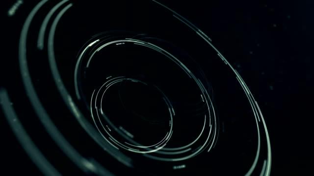 vídeos y material grabado en eventos de stock de lazo del interfaz holograma circular, oscura abstracción de hud en foco - colección