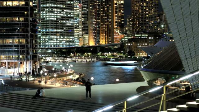 서큘러 키 야간에만 - 시드니 뉴사우스웨일스 스톡 비디오 및 b-롤 화면